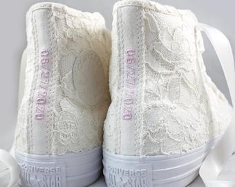 Custom Egret and Ivory Lace High Top Converses --Chantilly Bridal Converses  - Wedding Converse High Top-- Custom Converses