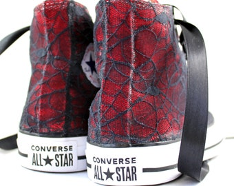 Spider Web Lace High Top Converses With Black Lace --Red Bridal Converses  -Dark Side Wedding Converse High Top-- Custom Converses