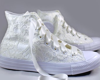 Ivory Lace High Top Converses --Bridal Converses -- Wedding Tennis shoes  - Wedding Converse High Top-- Custom Converses