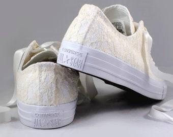 Lace Bridal Converses  --Eggnog Lace Converse Monochrome -- Wedding Tennis shoes  - Wedding Converse