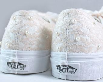 Champagne Lace and Pearl Vans  --Lace Vans -- Wedding Tennis shoes  - Wedding Vans