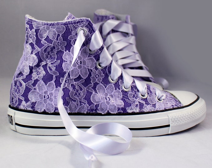 Featured listing image: Purple Lace High Top Converses With Purple Lace --Purple Bridal Converses  -Purple Wedding Converse High Top-- Custom Converses