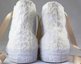 Ivory Lace High Top Converses --Florence Bridal Converses -- Wedding Tennis shoes  - Wedding Converse High Top-- Custom Converses