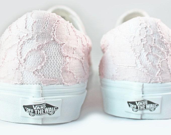 Featured listing image: Blush Lace Bridal Vans Slip On  --Lace Vans -- Wedding Tennis shoes  - Wedding Vans