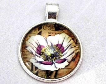 White Poppy  Necklace  - Glass Silver necklace