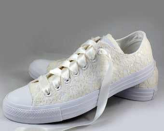 Lace Bridal Converses sz 11  Ready to Ship   -- Eggnog Lace Converse Monochrome -- Wedding Tennis shoes  - Wedding Converse