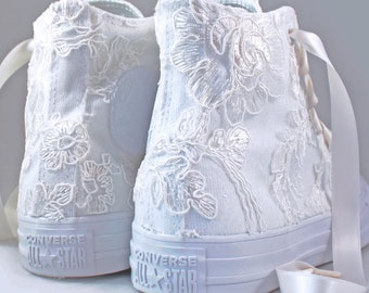 Size 7 RUSH Ready to ship Ivory Lace High Top Converses -- Ivory Floral Lace Bridal Converses - Wedding Converse High Top-- Custom Converses