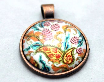 Paisley Raspberry  Necklace  - Copper Glass Copper necklace