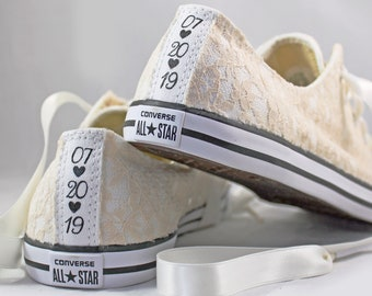 Champagne Lace Wedding Converse Custom Text -Champagne Lace Bridal Converses --Champagne Lace Converse -- Wedding Tennis shoes