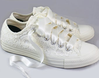 Ivory Bridal Converses Egret Ivory Sequin Lace  -- Ivory Converse -- Wedding Tennis shoes  - Wedding Converse