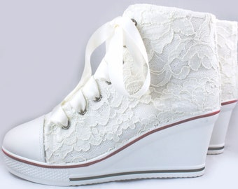 Ivory lace Platform sneaker wedge with ivory Lace SZ 7.5  -- Wedding Tennis shoes  - Wedding sneakers
