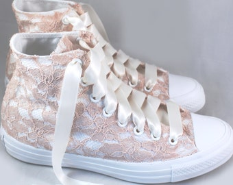 Blush Lace Bridal Converses Hightops with Blush Lace Converse-- Wedding Tennis shoes  - Wedding Converse