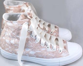 Blush Lace High Top Converses --Bridal Converses -- Wedding Tennis shoes  - Wedding Converse High Top-- Custom Converses