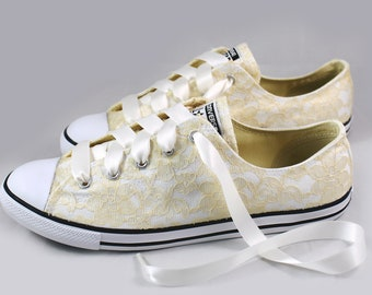 Gold Champagne Lace Wedding Converse -Champagne Lace Bridal Converses --Champagne Lace Converse -- Wedding Tennis shoes