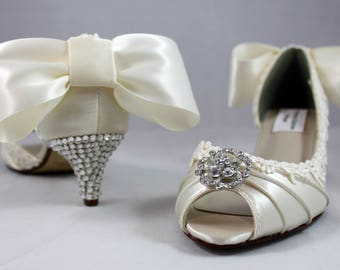"Ivory lace crystal bow heels 1.75""- low heel SALE Ready to ship Size 7.5"
