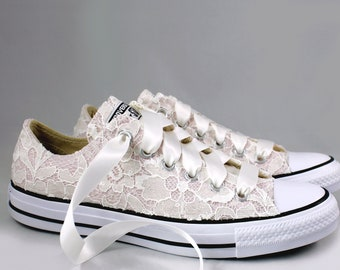 9fea71024b21 Blush Bridal Converses with Ivory Sequin Lace Converse Limited Color --  Wedding Tennis shoes - Wedding Converse
