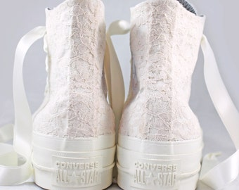 Custom Ivory Platform Converses with Champagne Lace  -- Wedding Tennis shoes  - Wedding Converse