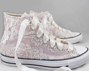 Blush Bridal Converses Hightops with Floral Ivory Lace Converse Limited Edition -- Wedding Tennis shoes  - Wedding Converse