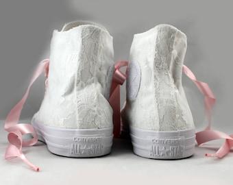 Lace High Top Bridal Converses --Bridal Converses -- Wedding Tennis shoes  - Wedding Converse High Top-- Custom Converses