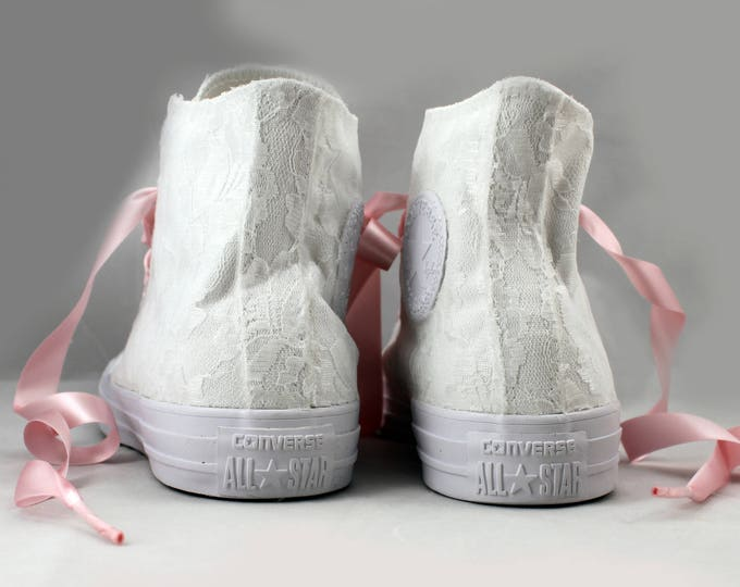 Featured listing image: MonoChrome Lace High Top Converses --Bridal Converses -- Wedding Tennis shoes  - Wedding Converse High Top-- Custom Converses