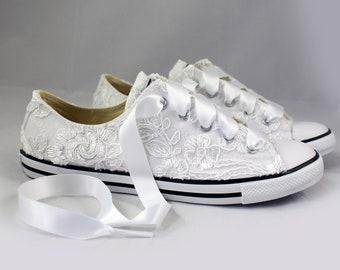 Floral white Lace Wedding Converse -white Lace Bridal Converses --Floral white Lace Converse -- Wedding Tennis shoes