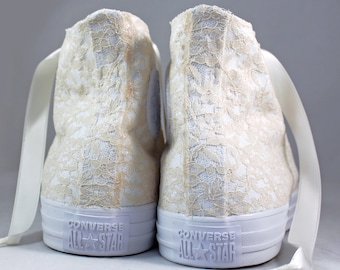 Champagne  Lace High Top Converses --Bridal Converses -- Wedding Tennis shoes  - Wedding Converse High Top-- Custom Converses