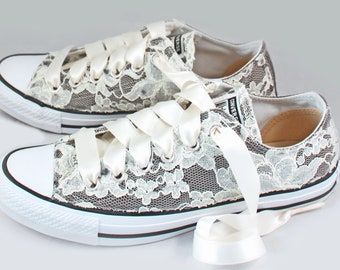 Size 8.5 Gray Lace Bridal Converses  Ready to ship--Lace Converse charcoal-- Wedding Tennis shoes - Wedding Converse