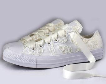 Floral Ivory Lace Monochrome Bridal Converses  -- Floral Ivory Lace Converse -- Wedding Tennis shoes  - Wedding Converse