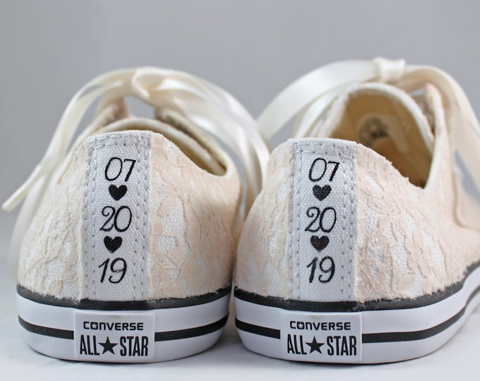 Featured listing image: Champagne Lace Wedding Converse Custom Text -Champagne Lace Bridal Converses --Champagne Lace Converse -- Wedding Tennis shoes