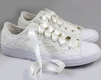 Ivory Lace Bridal Converses  -- Ivory Sequin Lace Converse -- Wedding Tennis shoes  - Wedding Converse