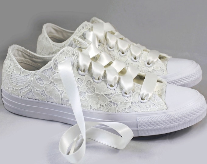 Featured listing image: Ivory Lace Bridal Converses  -- Ivory Sequin Lace Converse -- Wedding Tennis shoes  - Wedding Converse