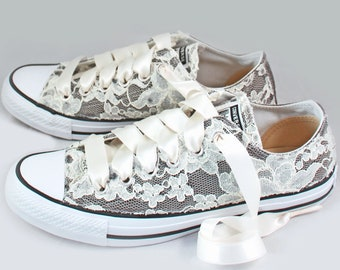 Gray Lace Bridal Converses  --Lace Converse charcoal-- Wedding Tennis shoes  - Wedding Converse