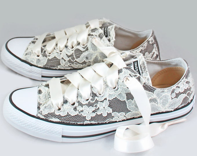 Featured listing image: Gray Lace Bridal Converses  --Lace Converse charcoal-- Wedding Tennis shoes  - Wedding Converse