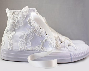 Ivory Lace High Top Converses -- Ivory Floral Lace Bridal Converses -- Wedding Tennis shoes  - Wedding Converse High Top-- Custom Converses