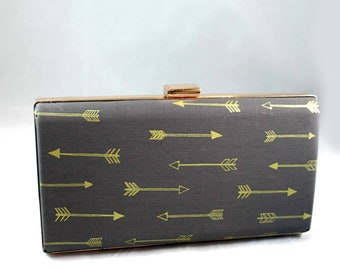 Large Charcoal grey box clutch with gold arrows  clutch- grey clutch-  birthday- Arrow clutch