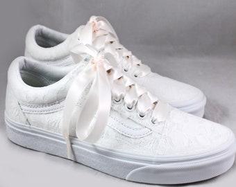 Old Skool White Lace Bridal Vans  --Lace Vans -- Wedding Tennis shoes  - Wedding Vans