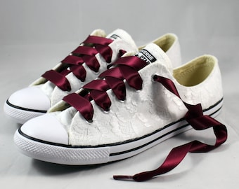Burgundy Converses --Lace Wedding Converse -- Wedding Tennis shoes  - Wedding Converse
