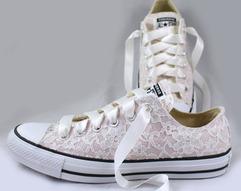 Blush Bridal Converses with Ivory Lace Converse Limited Color -- Wedding Tennis shoes  - Wedding Converse