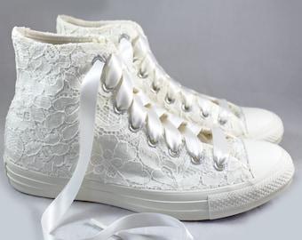 Ivory Bridal Converses High Top Egret Ivory Lace  -- Ivory Converse -- Wedding Tennis shoes  - Wedding Converse