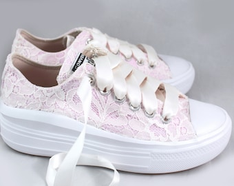 Blush Bridal Converses Platforms with Ivory Lace Converse Limited Edition -- Wedding Tennis shoes  - Wedding Converse