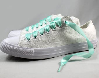 Aqua Bridal Converses  --Lace Converse -- Wedding Tennis shoes  - Wedding Converse