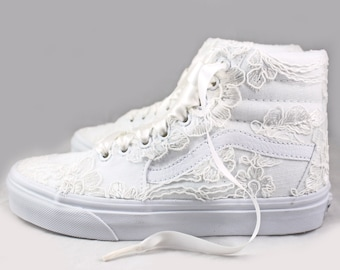 Ivory Lace Bridal Vans SK8-Hi Floral Lace --Lace Vans -- Wedding Tennis shoes  - Wedding Vans