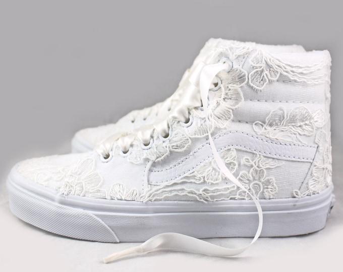 Featured listing image: Ivory Lace Bridal Vans SK8-Hi Floral Lace --Lace Vans -- Wedding Tennis shoes  - Wedding Vans