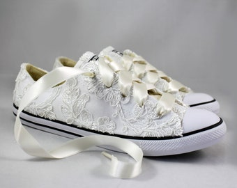 Ready to ship Ivory Lace Converses  Size 8--Bridal Converses size 8--  Wedding Tennis shoes  -- Custom Converses