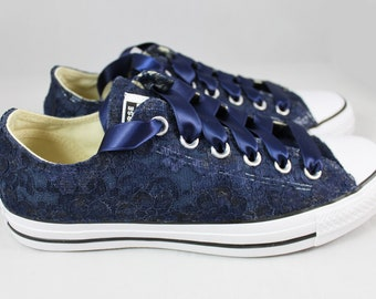 Ready to ship Size 8 RUSH Navy Lace Bridal Converses  --Lace Converse Navy-- Wedding Tennis shoes  - Wedding Converse