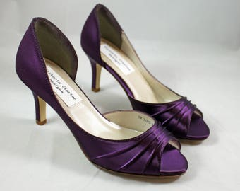 MOB Purple Wedding Shoes low heel SALE  -- 2.5 inch heel - Aubergine colored shoes Ready to ship - Eggplant shoe