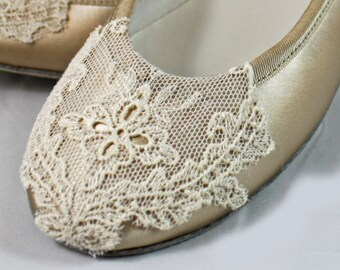 Champagne and Ivory Ballet  Flat - Lace Flats size 7 Sale