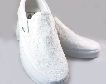 4 Pairs Ivory Lace Bridal Vans for Lesa --Lace Vans -- Wedding Tennis shoes  - Wedding Vans