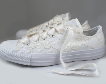 Ivory Bridal Converse --Chantilly Ivory Wedding Converse -- Ivory Customized Converse sneakers wedding