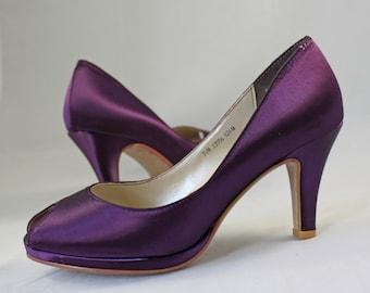 MOB Purple Wedding Shoes low heel SALE  -- 2.75 inch heel - Aubergine colored shoes Ready to ship - Eggplant shoe